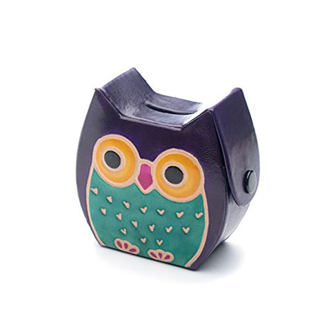 """Owl"" Fair Trade Handmade Leather Coin Bank"