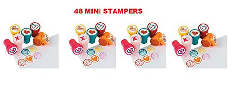 (48) Mini VALENTINE Stampers ~ 1.5 '' Assorted Heart Stamps ~ Party Favors ~ Card Decorating ~ Arts Crafts Classroom Projects