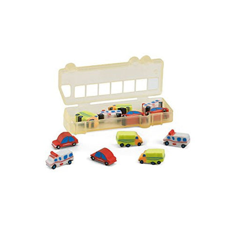 12 Piece Car Shape Eraser Set in a Truck / Lorry - Novelty Rubbers Stationery Kids Children
