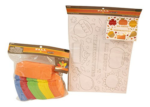 2 pc Thanksgiving Children's Color your Own Placemat and Thanksgiving Turkey Craft Bundle for 6: Color Your Own Placemat ,4 count Crayola Crayons, Owl Craft Kit