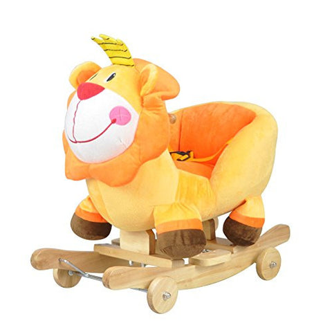 Baby Rocking Animal Wooden Rocking Horse & Stroller Ride On Toy Infant Lion 2-in-1 Rocker Rider with Sound and Safe Backrest & Wheels Lion