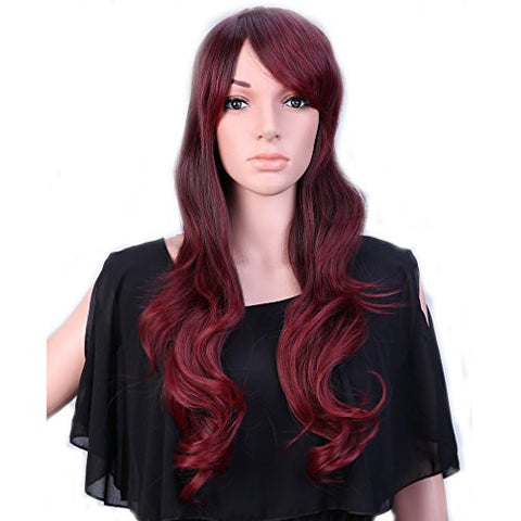 28'' / 70cm Heat Resistant Synthetic Wig Japanese Kanekalon Fiber Full Wig with Bangs Long Curly Wavy Full Head+Stretchable Elastic Wig Net for Women Girls Lady Fashion and Beauty(Brown Rose Mixed)