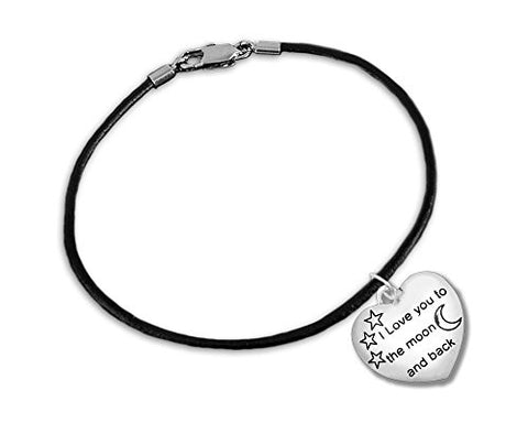 """To The Moon And Back"" Black Cord Bracelets (Wholesale Pack - 12 Bracelets)"