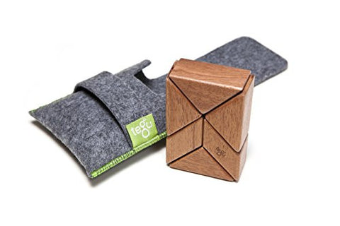 6 Piece Tegu Pocket Pouch Prism Magnetic Wooden Block Set, Mahogany