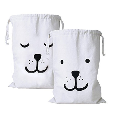 2pk, Deluxe Stylish Canvas Foldable Storage w/ Adorable Bear Face Print for Kids' Toys, Clothes & Gift Bag