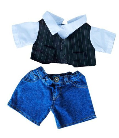 """Pinstripe Vest"" Dress Shirt and Denim Pants outfit Teddy Bear Clothes Fits Most 14"" - 18"" Build-A-Bear, Vermont Teddy Bears, and Make Your Own Stuffed Animals"