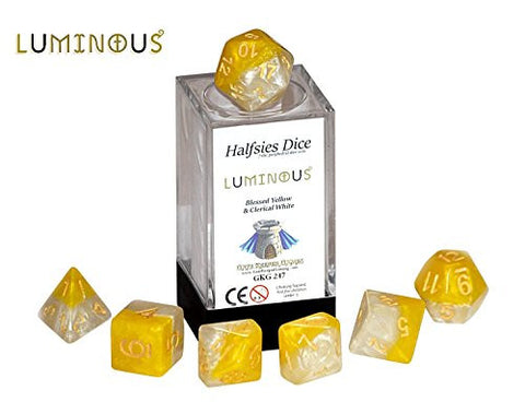 """Luminious"" Halfsies Dice - 7 die polyhedral dice set - Blessed Yellow & Clerical White"