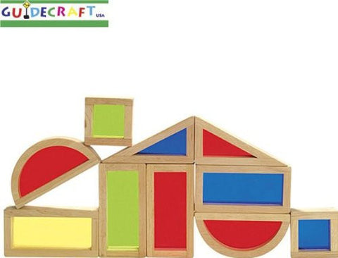 10 Pc See Through Color Wood Wooden Rainbow Blocks Toy Set Childrens Kids Play