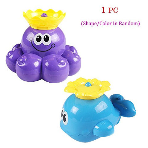 1 Pcs Squirt and Rotating Baby Water Fountain,Cute Whale or Octopus Shaped Bathtub Bath Toy or Swimming Pool Water Toy,for Baby Bathtime 3 Months Old Up ,Whale Model(Shape/Color In Random)