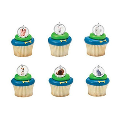 (24) The Secret Life Of Pets Cupcake Rings Cake Toppers Party Favors