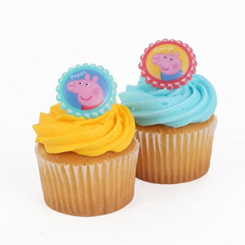 "1.5"" x 1.5"", Peppa Pig Themed Party Cupcake Rings, Set of 24"