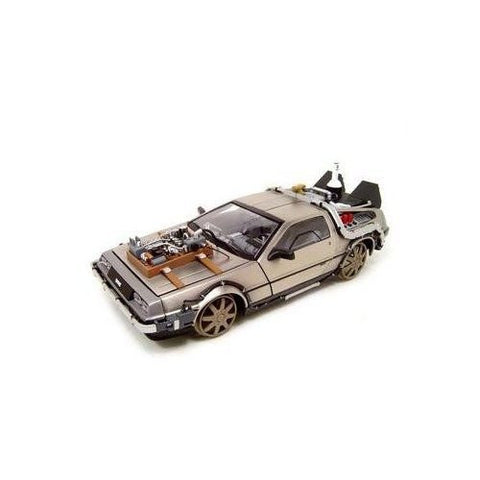 """Back to the Future III"" 1982 DeLorean Railroad version 1:18 Scale (Silver)"