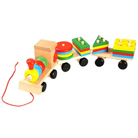 1 Set Colorful Wooden Train Building Blocks Educational Baby Children Toy