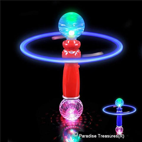 "10.5"" Hand-Held LED Light Up Galaxy Spinner with Flashing LED Lights and Double LED Prism Disco ball (USA Seller)"