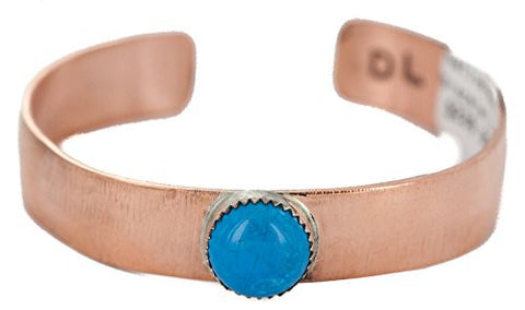 $240 Retail Tag Authentic Handmade Navajo Made by Delores Little Natural Turquoise Native American Pure Copper Bracelet