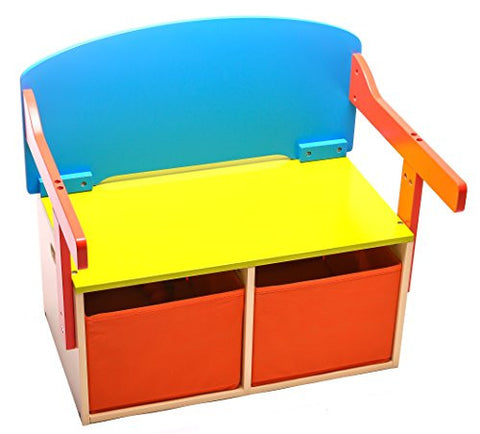 2 in 1 wooden storage bench and chalkboard desk with storage bins
