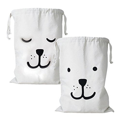 2-Pack Durable Canvas Storage Drawstring Bag Organizer Lightweight & Washable Clothes/Toys/Books/Gifts Bag