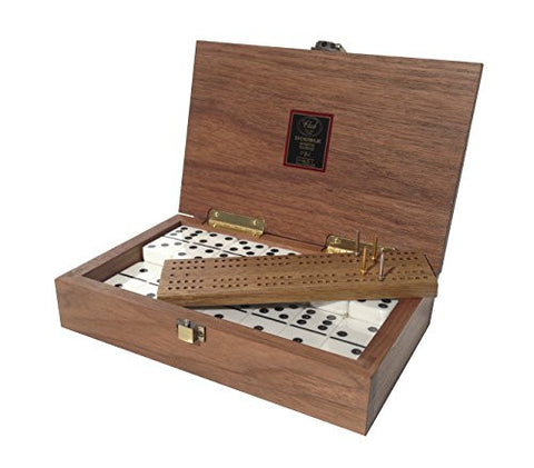 """Club 52"" Luxury Domino Set with Black Walnut Case - Professional Tournament Domino Set - 28 Indestructible Double-Six Dominoes"