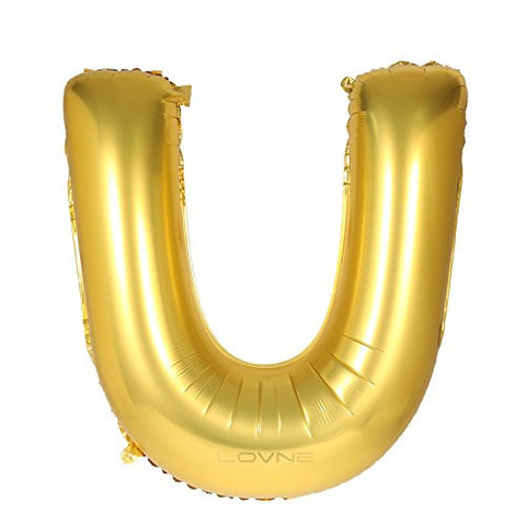 (Not Float with Helium)16 inch Gold Alphabet U Balloon Birthday Party Decorations Letter Balloon