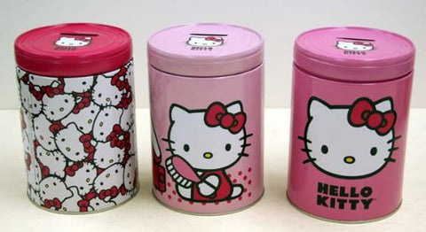 1 - HELLO KITTY TIN ROUND BANK
