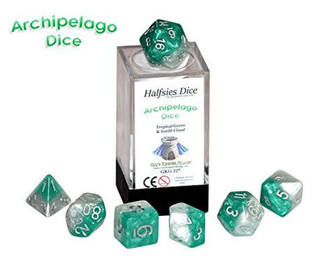 """Archipelago"" Halfsies Dice - 7 die polyhedral dice set - Tropical Green & Sunlit Cloud"