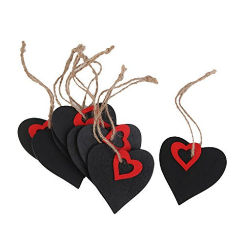 10pcs Mini Red Heart Chalkboard Tags with String