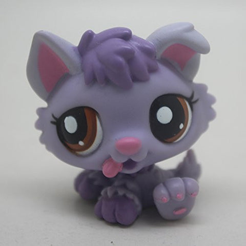 #1752 Rare Littlest Pet Shop Purple Baby Husky Puppy Dog brown EYES LPS Toy