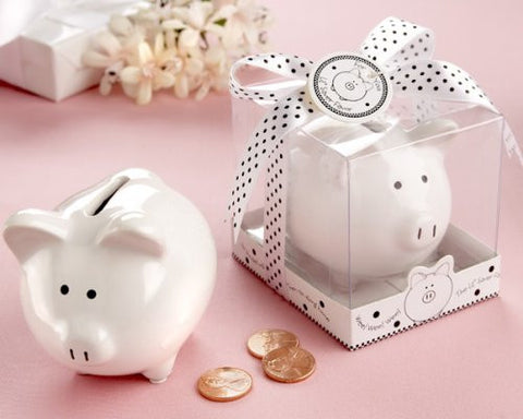 """Li'l Saver Favor"" Ceramic Mini-Piggy Bank in Gift Box with Polka-Dot Bow - Baby Shower Gifts & Wedding Favors (Set of 12)"