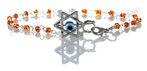 """LUCKY EYE"" Star of David Orange Beaded Bracelets - Israel Jewish Judaica Jewelry"