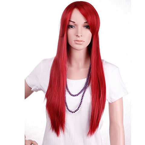 28'' / 70cm Heat Resistant Synthetic Wig Japanese Kanekalon Fiber Full Wig with Bangs Long Straight Full Head for Women Girls Lady Fashion and Beauty Dark Red
