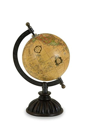 "10"" Decorative Traditional Spinning Desk Globe with Fluted Base"