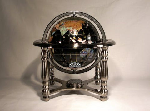 "10"" Tall Black Onyx Ocean Table Top World Map Gemstone Globe with 4-leg Silver Stand"