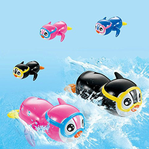 1 pcs Multicolor Wind Up Swimming Little Penguin Toys Small NewBorn Baby Bath Toy