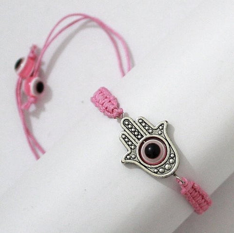 """Lucky"" LARGE HAMSA Pink String Kabbalah Bracelet with Rotating ""Evil Eye"" Hamsa Hand - Jewish Judaica Amulet Pendant Jewelry for ""Success and Protection"""