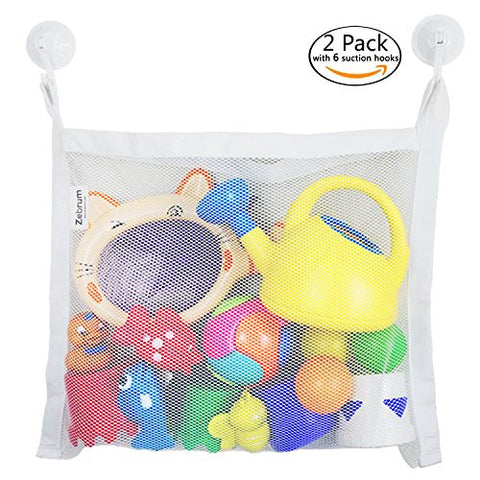 "2 Pack Bath Toy Organizer, Zebrum Mold proofing Mesh Bag, Large (18""x14"") and Strong Storage Net Bag+ 6 Bonus Quality Suction Hooks"