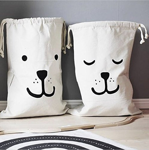 2 PCS Home Decor Canvas Storage Bags,Basket Organizers for Toys, Baby Clothing, Children Books, Gift Bag