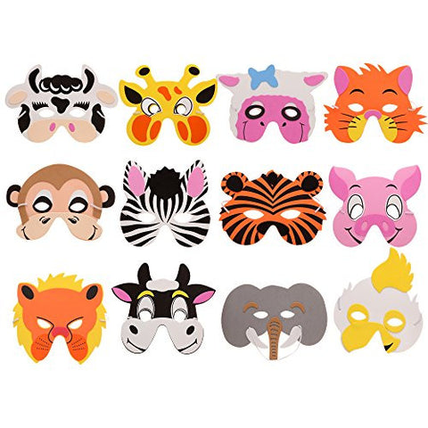 12 Pieces Assorted Foam Animal Masks for Birthday Party Halloween Favors Dress-Up