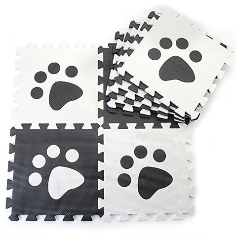 10pcs Black White Paw Style Soft Puzzle Mats Rugs Flooring Mats for Kids Soft Foam Play Mat Jigsaw Pop-Out Mats