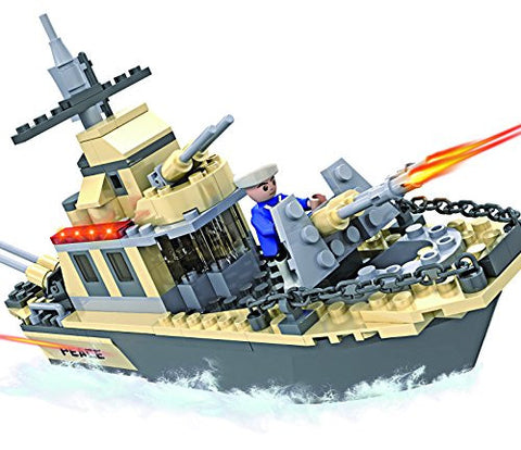 236-Piece Building Block Set - Plastic Military Toy Warships for Boys and Girls - Promotes Cognitive and Social Skills, Early Learning - Supports Hand-Eye Coordination