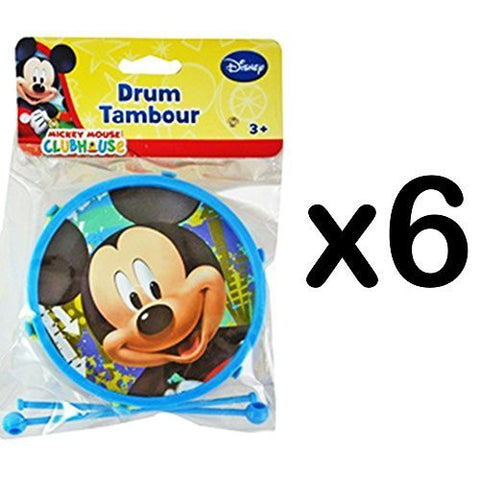 (6) Mini Kids Plastic Drums with Sticks Nickelodeon Disney CHARACTER: Mickey (LOT OF 6) -RM2637