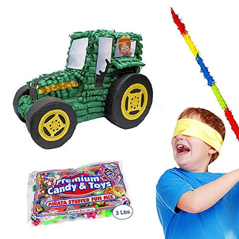 "20"" Deluxe Tractor Party Pinata Kit Including Pinata, Buster Stick, Bandana and 3 Lbs. Filler"