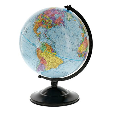 "12"" Globe With Blue Ocean Shading - Educational Raised Relief Political Globe - 2015 Country Lines"