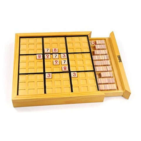 Deluxe Wooden Sudoku Puzzle with Wooden Numbers Easy Hard Lever Educational Math Toy For Adult Children