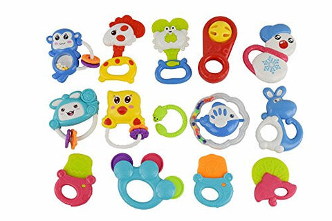 14 Piece Baby Rattle Toy Gift Set With Baby Rattle & Teether, Packed in Feeder Bottle, Safe for Babies