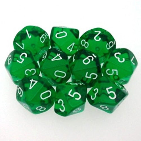 10 d10 Dice Set Chessex TRANSLUCENT GREEN white 23205 Dadi TRASPARENTI VERDE chx /item# R6SG5EB-48Q29047