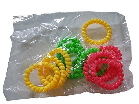 12PC Neon Telephone Cord Bracelet, Assorted Color