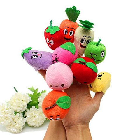 10 Pcs Plush Finger Puppets Doll Fruits Vegetables Sets Baby Toys Finger Puppet Books for Toddlers