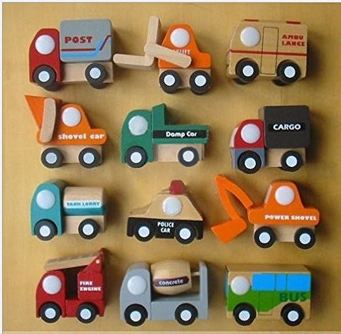 12 Pcs Mini Wooden Train Cars & Emergency Vehicles Collection