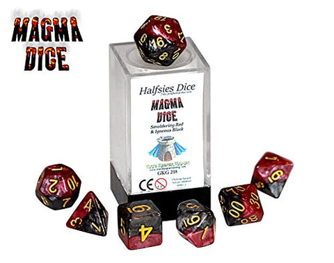 """Magma"" Halfsies Dice - 7 die polyhedral rpg gaming dice set - Smoldering Red & Igneous Black"