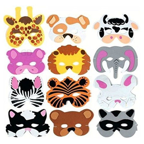 (12) Foam Zoo Animal Kids Mask Assorted Party Favor Lion Tiger Bear Pig Cat